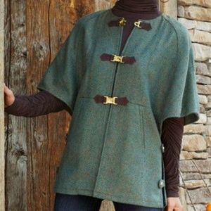 Soft Surroundings Tweed Herringbone Poncho Cape
